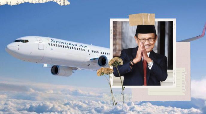 Ilustrasi Pesawat Sriwijaya Air dan BJ Habibie